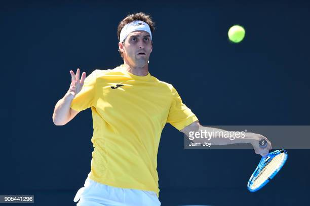Albert RamosVinolas of Spain plays a forehand in his first round match against Jared Donaldson of the United States on day two of the 2018 Australian...