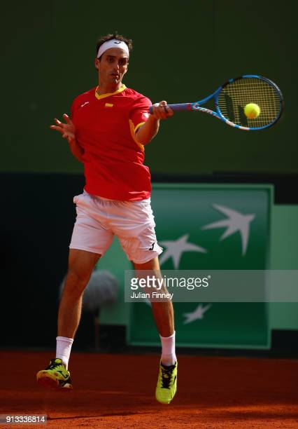 Albert RamosVinolas of Spain plays a forehand in his match against Liam Broady of Great Britain during day one of the Davis Cup World Group first...