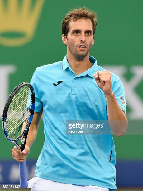 Albert RamosVinolas of Spain reacts in the match against JanLennard Struff of Germany during Round 3 in Men's Single match of 2017 ATP Shanghai Rolex...