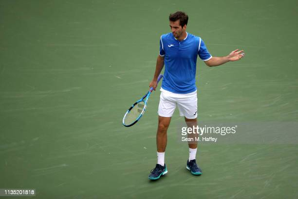 Albert RamosVinolas of Spain reacts to a call against Gael Monfils of France during their men's singles third round match on Day 8 of the BNP Paribas...