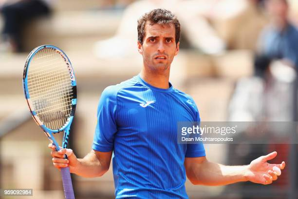 Albert RamosVinolas of Spain reacts to a line judge call in his match against John Isner of USA during day 4 of the Internazionali BNL d'Italia 2018...