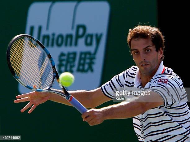 Albert RamosVinolas of Spain returns a shot against JoWilfried Tsonga of France during their men's singles third round on day 5 of Shanghai Rolex...
