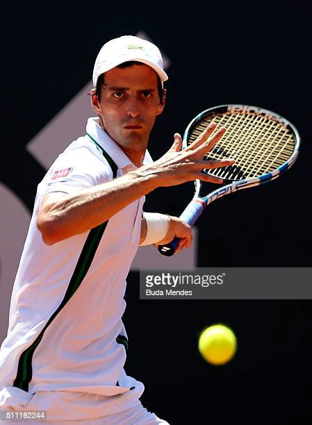 Albert RamosVinolas of Spain returns a shot to David Ferrer of Spain during the Rio Open at Jockey Club Brasileiro on February 18 2016 in Rio de...