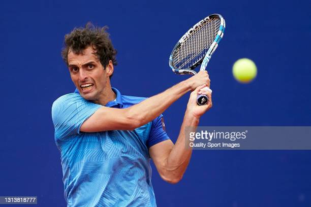 Albert Ramos-Vinolas of Spain returns the ball during his Men's Singles round of 16 match against Andrey Rublev of Russia on day four of the...