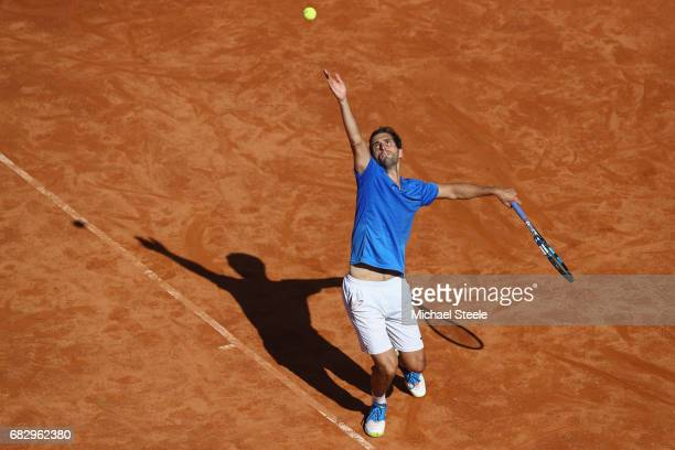 Albert RamosVinolas of Spain serves during his first round match against John Isner of USA on Day Two of The Internazionali BNL d'Italia 2017 at the...