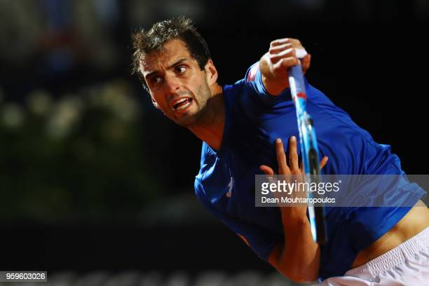 Albert RamosVinolas of Spain serves in his match against Novak Djokovic of Serbia during day 5 of the Internazionali BNL d'Italia 2018 tennis at Foro...