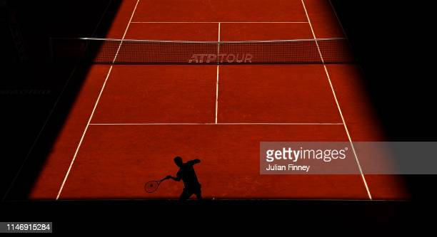 Albert RamosVinolas of Spain serves to Taro Daniel of Japan during day one of the Mutua Madrid Open at La Caja Magica on May 04 2019 in Madrid Spain