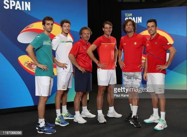 Albert Ramos-Vinolas, Pablo Carreno Busta, Francisco Roig, Rafael Nadal, Feliciano Lopez and Roberto Bautista Agut of Team Spain pose for a team...
