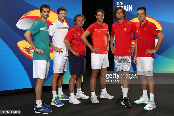 Albert Ramos-Vinolas, Pablo Carreno Busta, Francisco Roig, Rafael Nadal, Feliciano Lopez and Roberto Bautista Agut of Team Spain pose for a team...