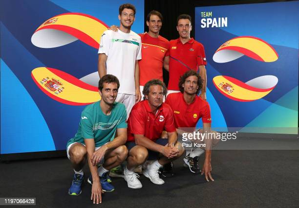 Albert RamosVinolas Pablo Carreno Busta Francisco Roig Rafael Nadal Roberto Bautista Agut and Feliciano Lopez of Team Spain pose for a team photo...