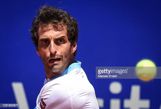 Albert Ramos-Viñolas of Spain hits a backhand during a match against Francisco Cerundolo of Argentina with a part of first semifinal during day 6 of...