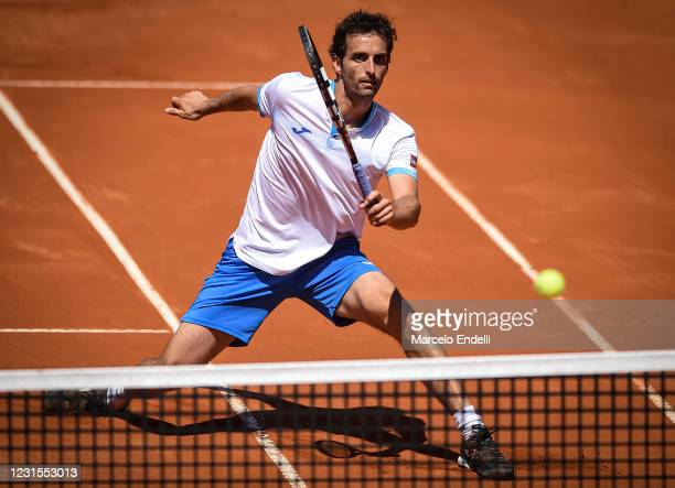 Albert Ramos-Viñolas of Spain hits a forehand during a match against Francisco Cerundolo of Argentina with a part of first semifinal during day 6 of...