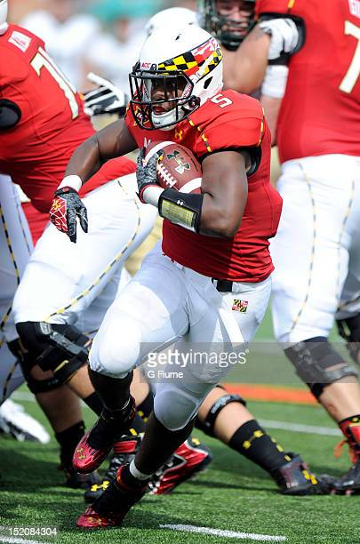 Albert Reid of the Maryland Terrapins rushes the ball against the William Mary Tribe at Byrd Stadium on September 1 2012 in College Park Maryland
