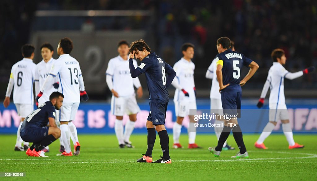 Albert Riera of Auckland City (8) and team mates look dejected in defeat after the FIFA Club World Cup Play-off for Quarter Final match between Kashima Antlers and Auckland City at International Stadium Yokohama on December 8, 2016 in Yokohama, Japan.