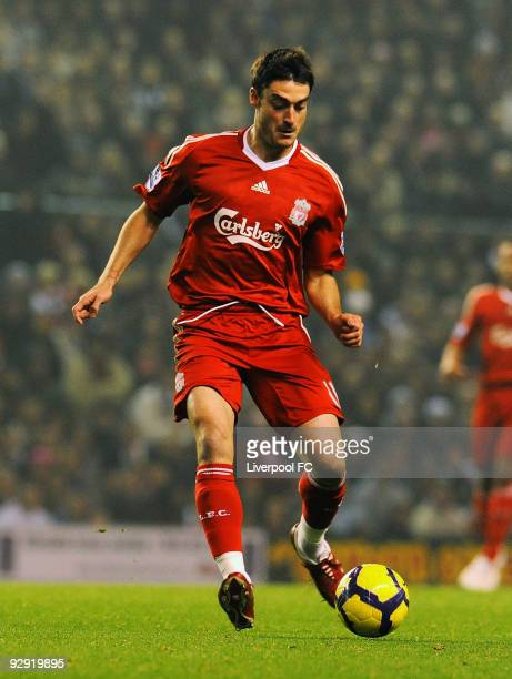 Albert Riera of Liverpool in action during the Barclays Premier League match between Liverpool FC and Birmingham City at Anfield on November 9 2009...