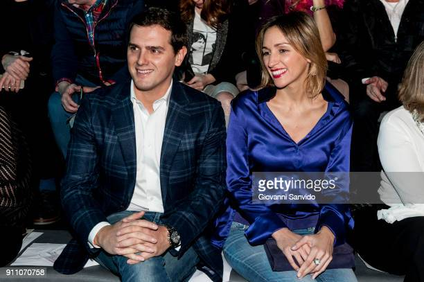 Albert Rivera and Beatriz Tajuelo are seen at the Ulises Merida show during the MercedesBenz Fashion Week Madrid Autumn/Winter 201819 at Ifema on...