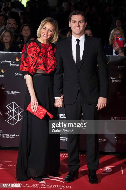 Albert Rivera and Beatriz Tajuelo attend the 20th Malaga Film Festival 2017 opening ceremony at the Cervantes Theater on March 17 2017 in Malaga Spain