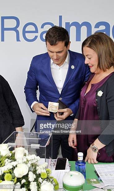 Albert Rivera and Cuchi Perez attend the Real Madrid Cancer Charity Table to collect funds for the Spanish Cancer Association on May 5 2016 in Madrid...