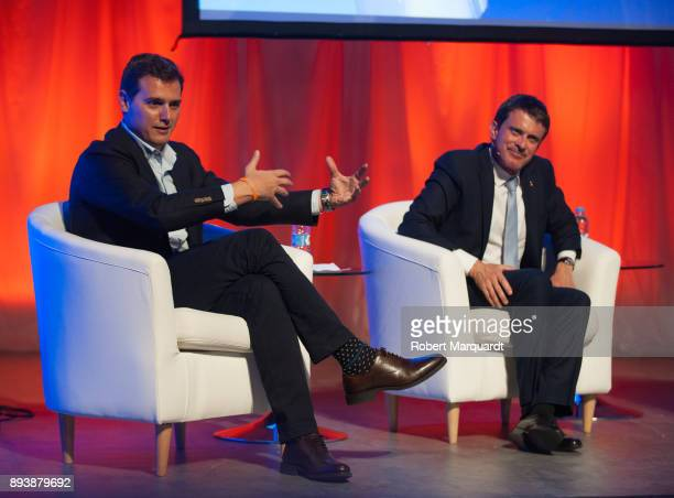 Albert Rivera and former France Prime Minister Manuel Valls attend a rally for the Citudans policital party on December 16 2017 in Barcelona Spain...