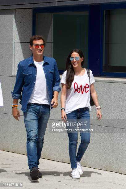 Albert Rivera and Malu are seen leaving the Mostoles Hospital on July 12 2019 in Mostoles Spain