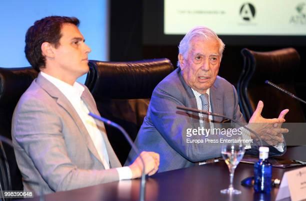Albert Rivera and Mario Vargas LLosa attend XI Latin America Atlantic Forum organised by Fundacion para la Libertad on July 6 2018 in Madison...