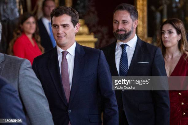 Albert Rivera and Santiago Abascal attend a reception at the Royal Palace during the National Day on October 12 2019 in Madrid Spain