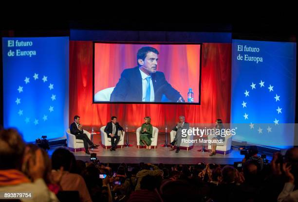 Albert Rivera former France Prime Minister Manuel Valls Maria Rey Mario Vargas Lloso and Ines Arrimadas attend a rally for the Citudans policital...