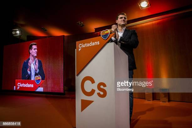 Albert Rivera head of Ciudadanos applauds from the stage during an event to launch the party's campaign for the Catalan election at the Granollers...