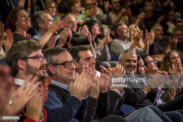 Albert Rivera head of Ciudadanos center applauds with supporters during an event to launch the party's campaign for the Catalan election at the...