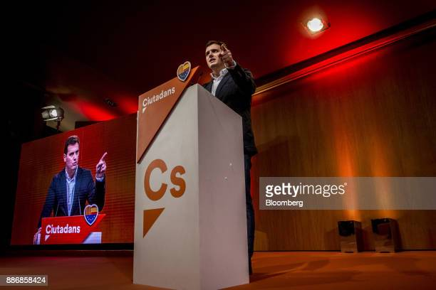 Albert Rivera head of Ciudadanos gestures as he speaks during an event to launch the party's campaign for the Catalan election at the Granollers...