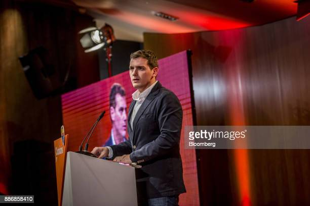 Albert Rivera head of Ciudadanos speaks during an event to launch the party's campaign for the Catalan election at the Granollers auditorium in...