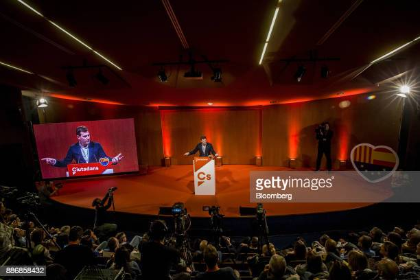 Albert Rivera head of Ciudadanos speaks to supporters during an event to launch the party's campaign for the Catalan election at the Granollers...