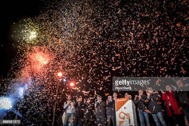 Albert Rivera leader of Ciudadanos center and Ines Arrimadas a member of Ciudadanos center right celebrate electoral victory in Barcelona Spain on...
