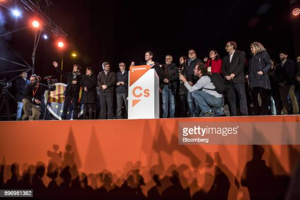 Albert Rivera leader of Ciudadanos center speaks to supporters as they celebrate their electoral victory in Barcelona Spain on Thursday Dec 21 2017...
