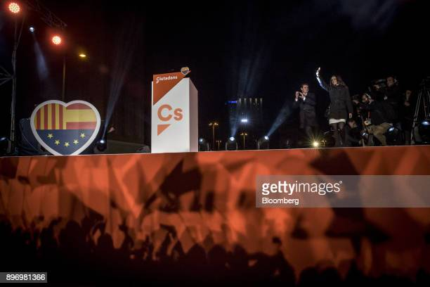 Albert Rivera leader of Ciudadanos left and Ines Arrimadas a member of Ciudadanos celebrate electoral victory in Barcelona Spain on Thursday Dec 21...