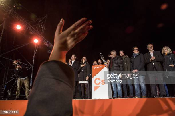 Albert Rivera leader of Ciudadanos left and Ines Arrimadas a member of Ciudadanos center left celebrate electoral victory in Barcelona Spain on...