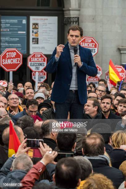 Albert Rivera leader of Ciudadanos Party during a protest against Prime Minister Pedro Sanchez's policies with the Catalan independence process...