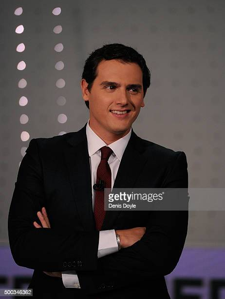 Albert Rivera leader of Ciudadanos party looks on before the television debate with fellow leaders Pedro Sanchez of the PSOE Socialist party Pablo...