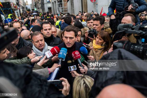 Albert Rivera leader of Ciudadanos party speaking to the media during a demonstration where thousands of National Police and Civil Guards from all...