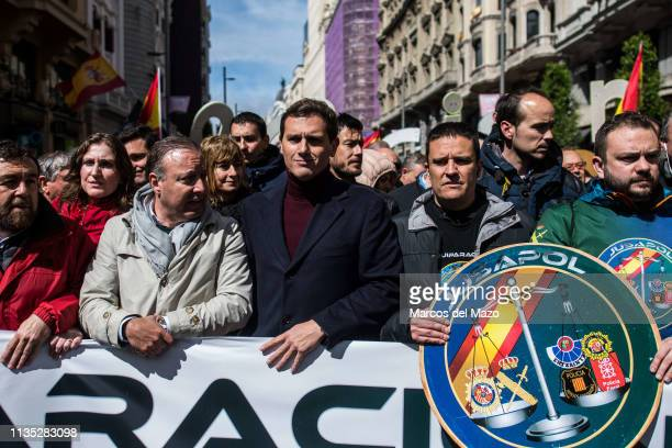 Albert Rivera leader of Ciudadanos party supporting a demonstration where thousands of National Police and Civil Guards from all over Spain march...
