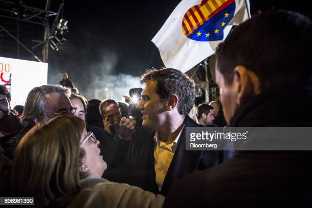 Albert Rivera leader of Ciudadanos speaks to supporters as they celebrate electoral victory in Barcelona Spain on Thursday Dec 21 2017 An election in...