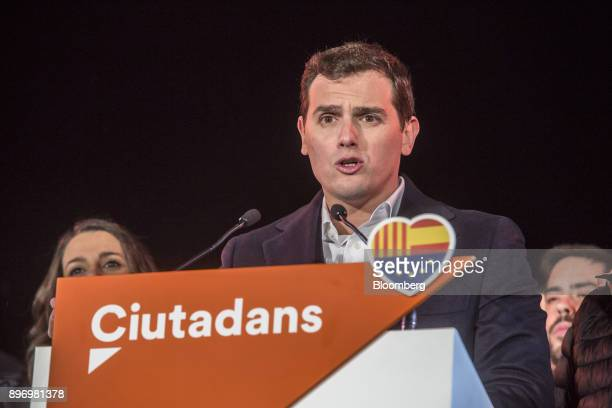 Albert Rivera leader of Ciudadanos speaks to supporters as they celebrate their electoral victory in Barcelona Spain on Thursday Dec 21 2017 An...