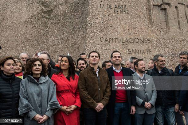 Albert Rivera posing during a protest against Spanish Prime Minister Pedro Sanchez Popular Party Ciudadanos and farright party Vox have called to...