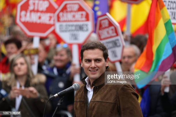 Albert Rivera president of party Ciudadanos seen speaking during the manifestation called by the PP and Ciudadanos that was held at the Plaza de...