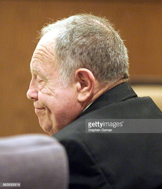 Albert Rosen grins while listening to his son Ron Rosen speak about being molested by his father Albert Rosen was sentenced in Ventura County...