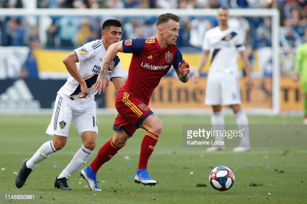 Albert Rusnak of Real Salt Lake takes the ball down the field during a game against the Los Angeles Galaxy at Dignity Health Sports Park on April 28...