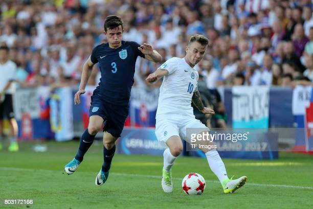 Albert Rusnak of Slovakia and Ben Chilwell of England battle for the ball during the 2017 UEFA European Under21 Championship match between Slovakia...