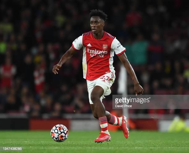 Albert Sambi Lokonga of Arsenal during the Premier League match between Arsenal and Crystal Palace at Emirates Stadium on October 18, 2021 in London,...