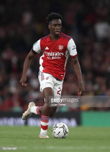 Albert Sambi Lokonga of Arsenal in action during the Carabao Cup Third Round match between Arsenal and AFC Wimbledon at Emirates Stadium on September...