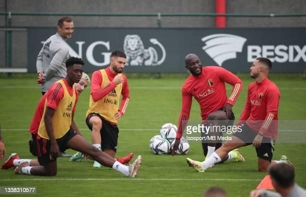 Albert Sambi Lokonga of Belgium, Yannick Carrasco of Belgium, Romelu Lukaku of Belgium and Eden Hazard of Belgium during a training session of the...